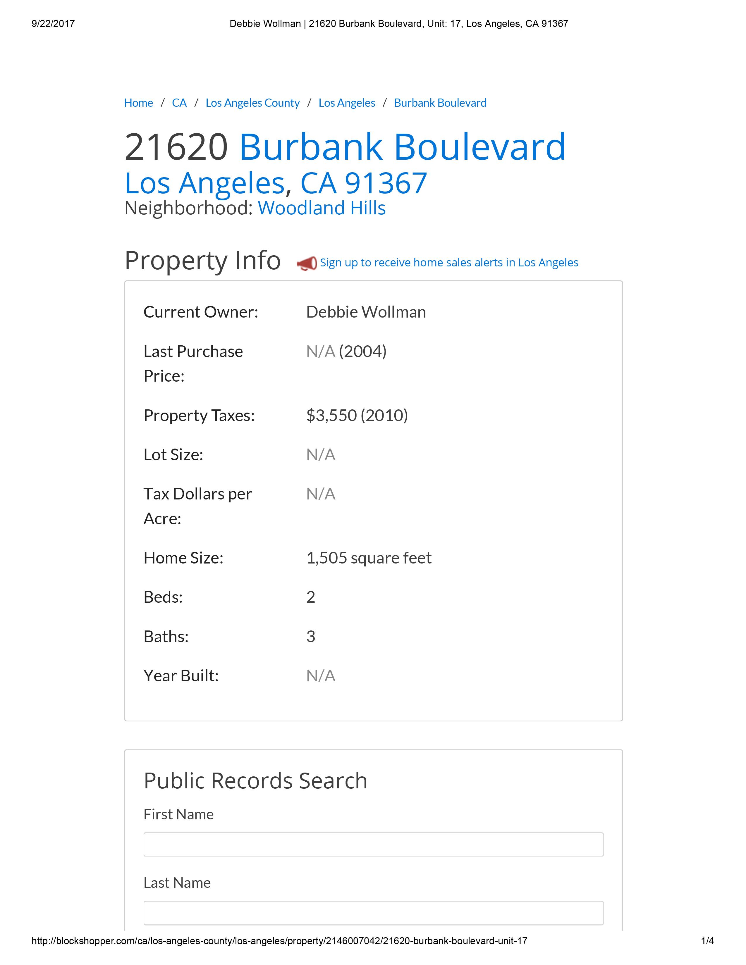 Debbie Wollman _ 21620 Burbank Boulevard, Unit_ 17, Los Angeles, CA 91367-1