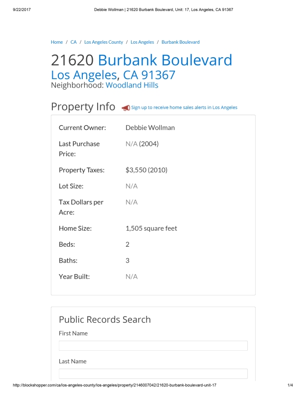 Debbie Wollman _ 21620 Burbank Boulevard, Unit_ 17, Los Angeles, CA 91367-1